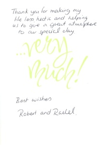 Robert and rachel thank you
