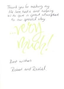 Robert and rachel thank you